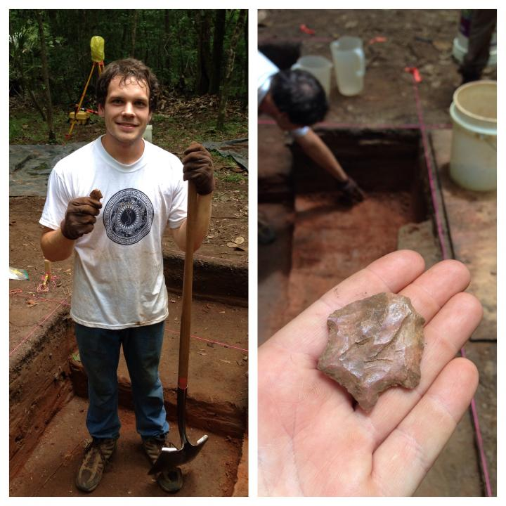 Archaeology student holding arrowhead and shovel