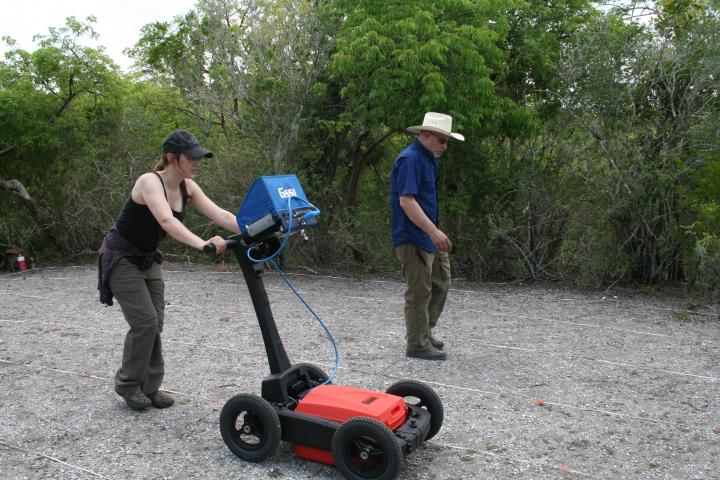 In the field with Ground Penetrating Radar.