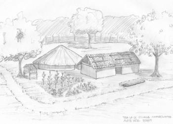 1710 Cherokee village recreation, house drawing.